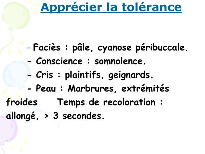 Apprécier la tolérance
