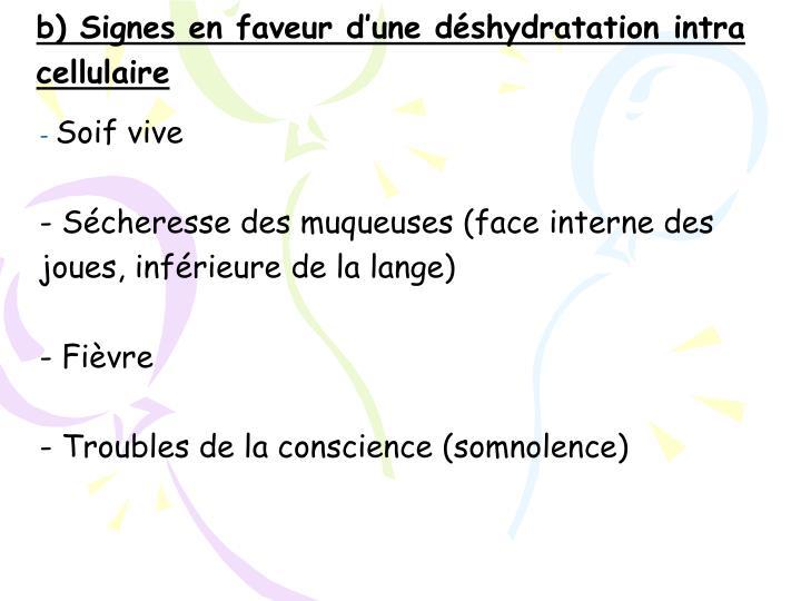 b) Signes en faveur d'une déshydratation intra cellulaire