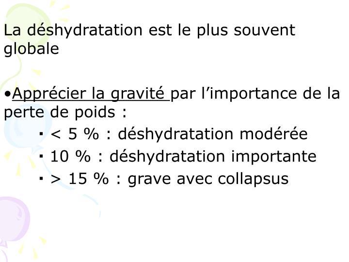 La déshydratation est le plus souvent globale
