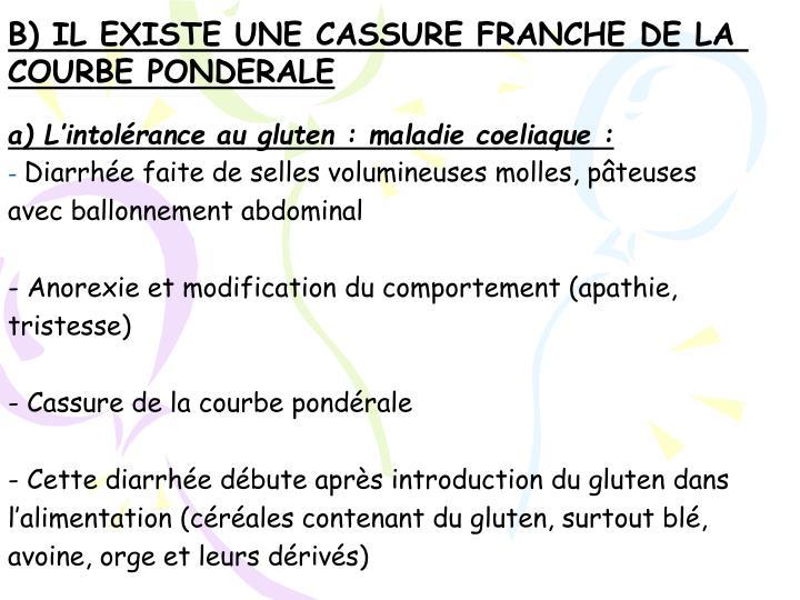 B) IL EXISTE UNE CASSURE FRANCHE DE LA