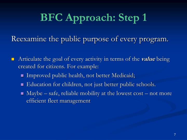 BFC Approach: Step 1