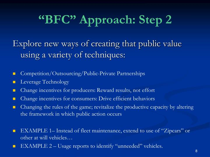 """BFC"" Approach: Step 2"
