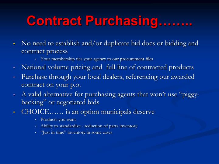 Contract Purchasing……..