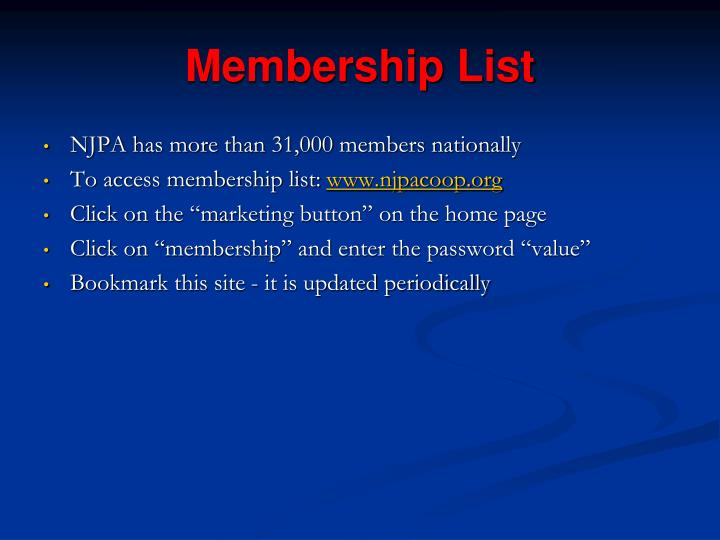 Membership List