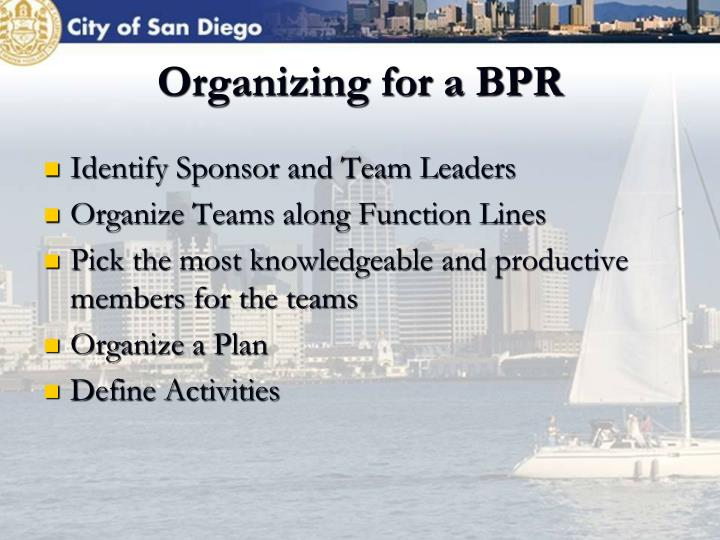 Organizing for a BPR