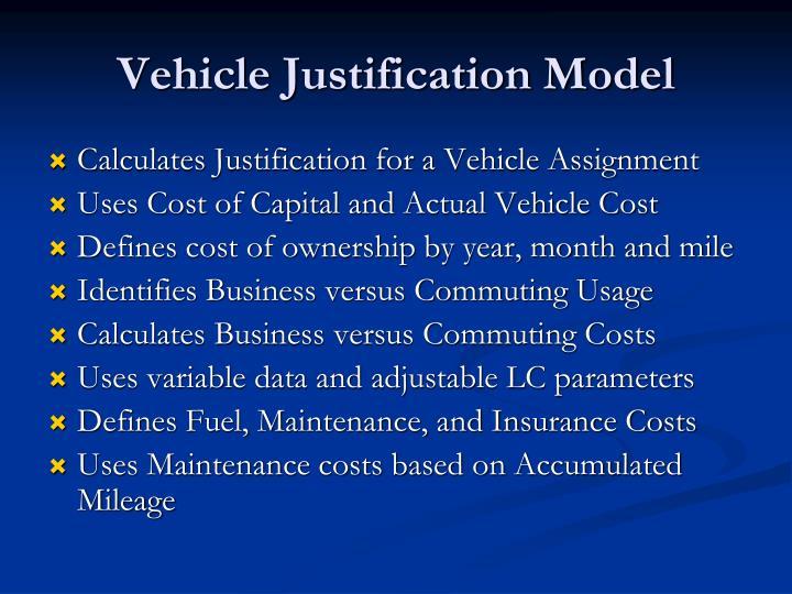 Vehicle Justification Model