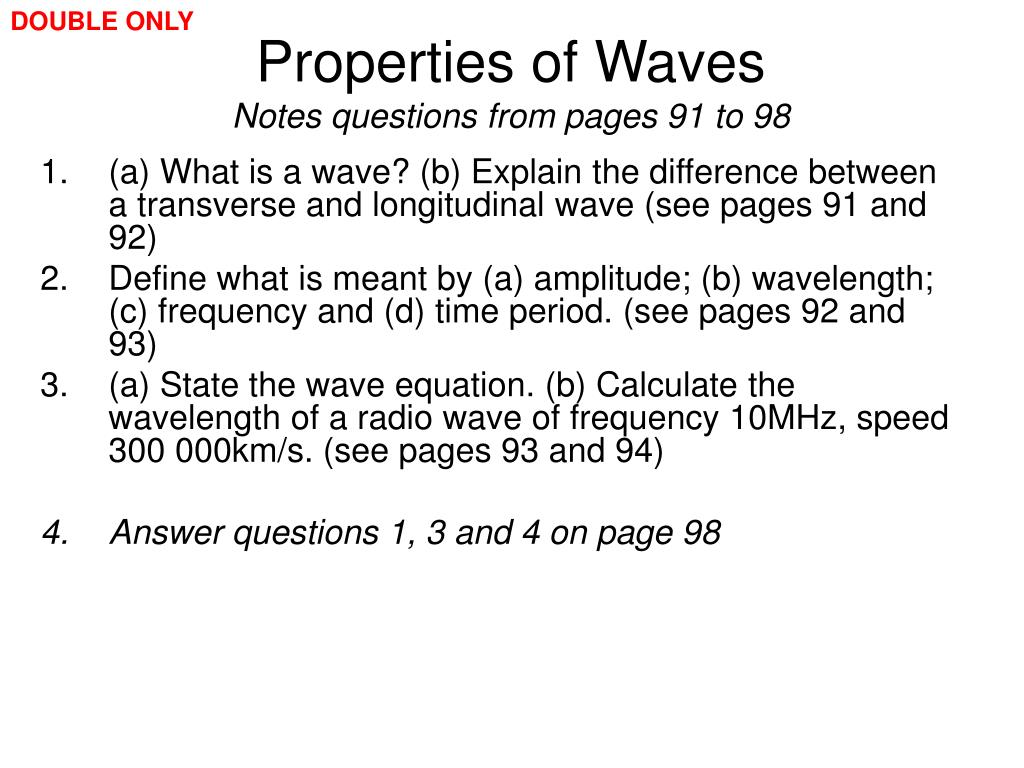 PPT - EDEXCEL IGCSE / CERTIFICATE IN PHYSICS 3-1 Properties of Waves