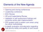 elements of the new agenda
