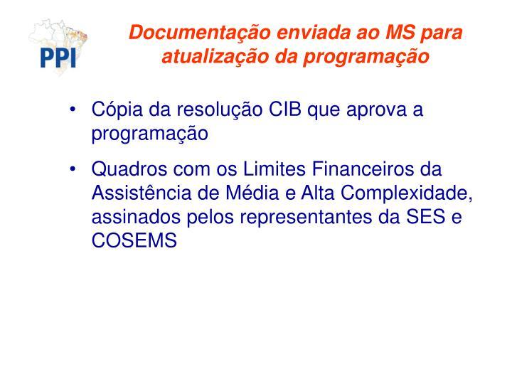 Documentação enviada ao MS para atualização da programação