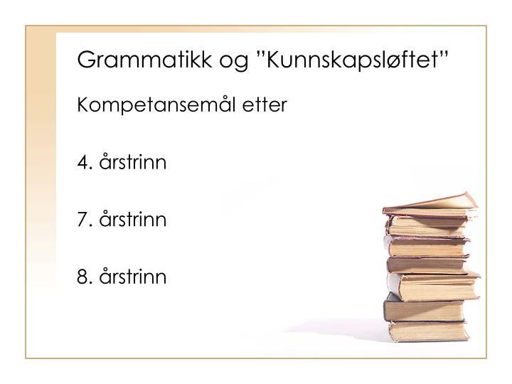 """Grammatikk og """"Kunnskapsløftet"""""""
