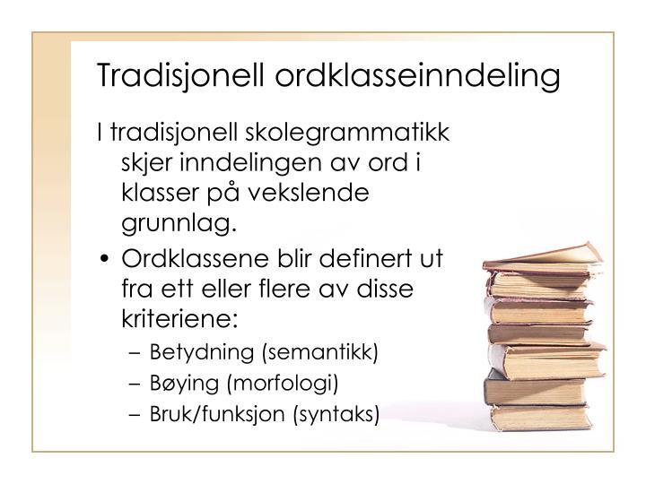 Tradisjonell ordklasseinndeling