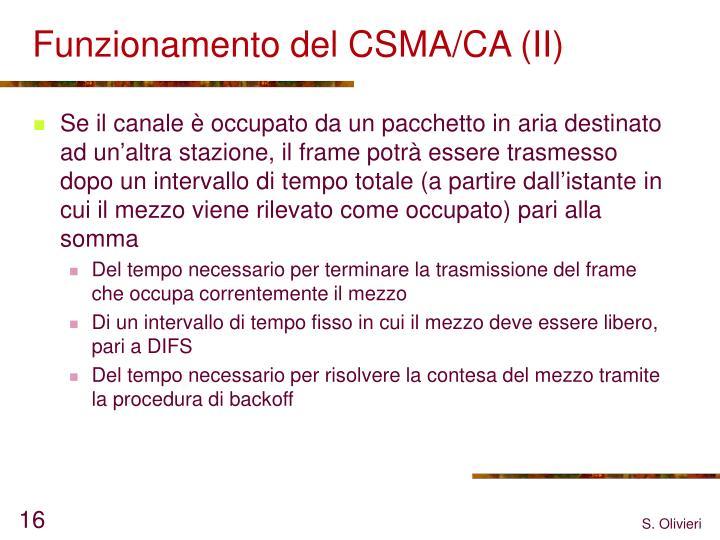 Funzionamento del CSMA/CA (II)