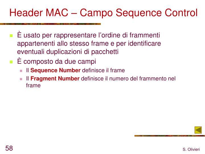Header MAC – Campo Sequence Control