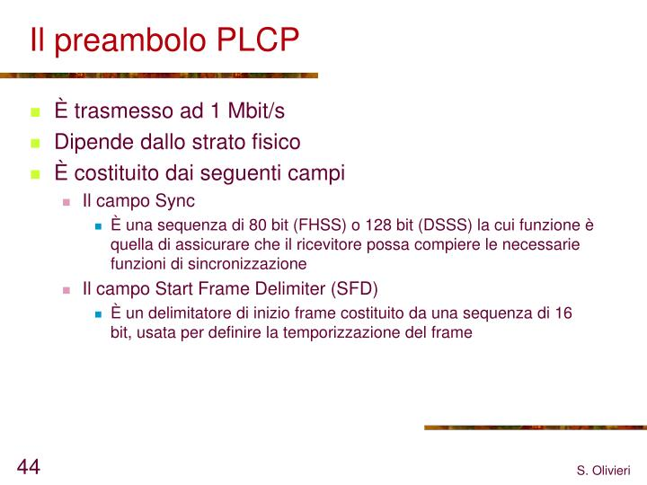 Il preambolo PLCP