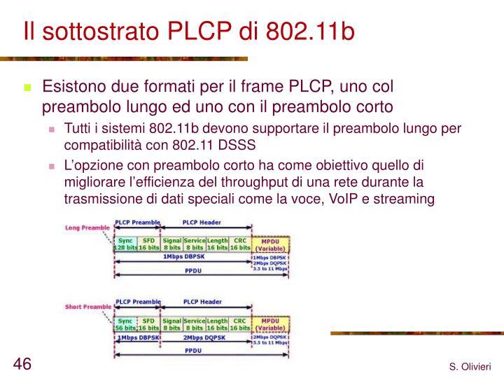 Il sottostrato PLCP di 802.11b