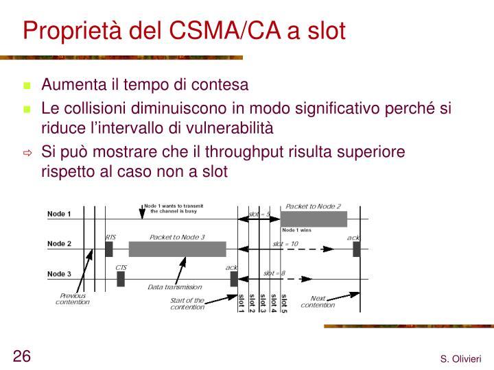 Proprietà del CSMA/CA a slot