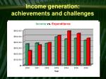 income generation achievements and challenges