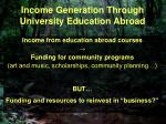 income generation through university education abroad