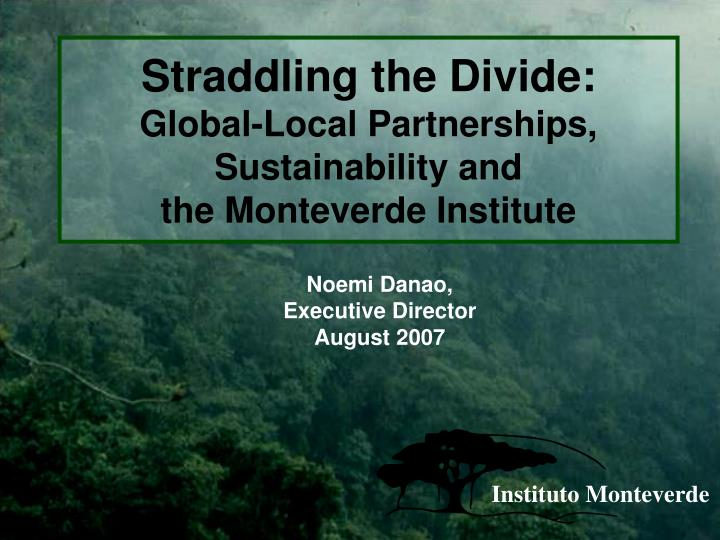 straddling the divide global local partnerships sustainability and the monteverde institute n.