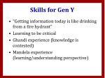 skills for gen y