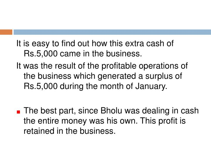 It is easy to find out how this extra cash of Rs.5,000 came in the business.