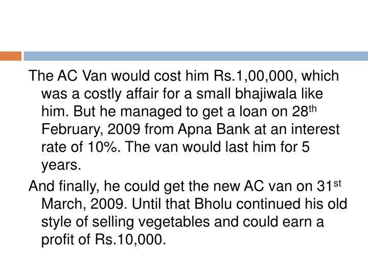 The AC Van would cost him Rs.1,00,000, which was a costly affair for a small