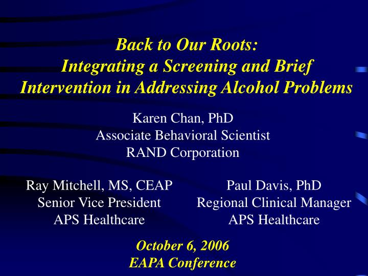 Back to our roots integrating a screening and brief intervention in addressing alcohol problems