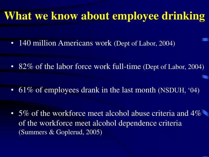 What we know about employee drinking