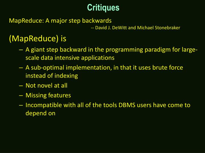MapReduce: A major step backwards