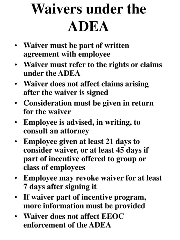 waivers under the adea n.