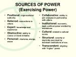 sources of power exercising power