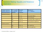 decision making equality and relational operators1