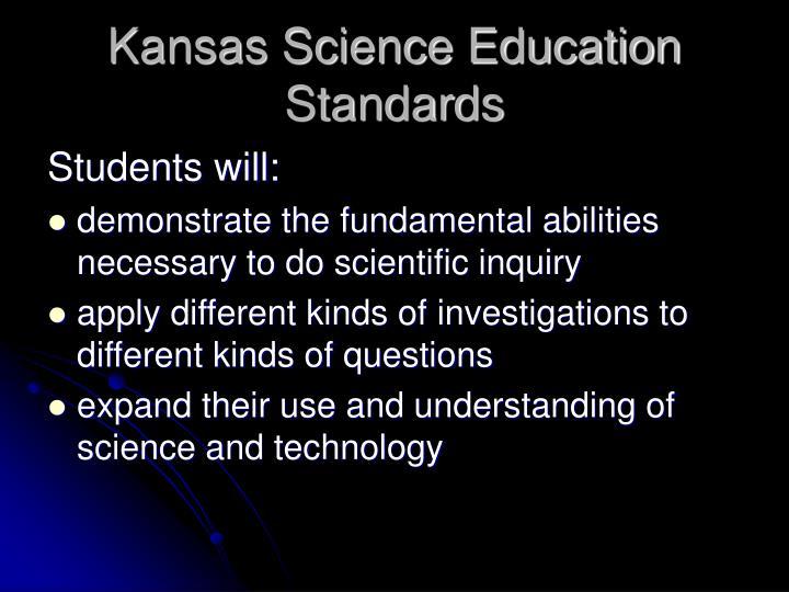 Kansas Science Education Standards