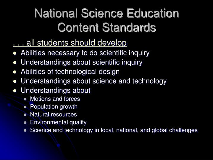 National Science Education Content Standards
