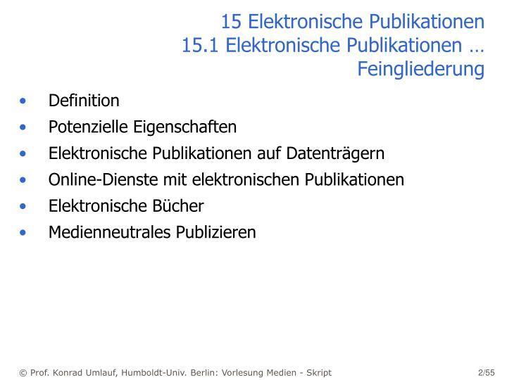 15 elektronische publikationen 15 1 elektronische publikationen feingliederung