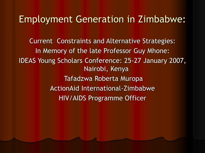 employment generation in zimbabwe n.