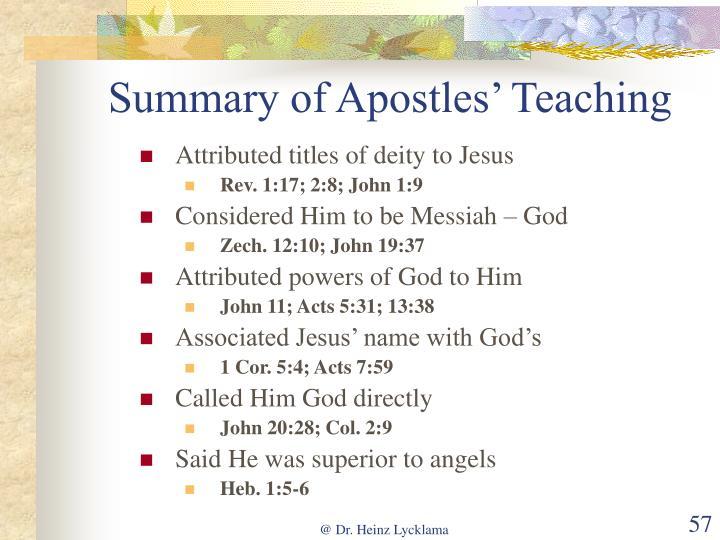 Summary of Apostles' Teaching