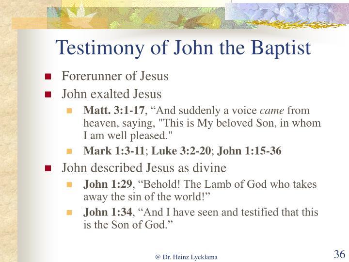 Testimony of John the Baptist