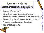 des activit s de communication langagi re