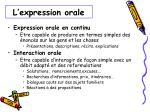 l expression orale