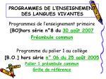 programmes de l enseignement des langues vivantes