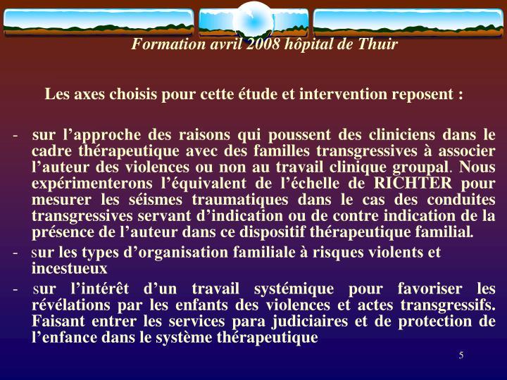 Formation avril 2008 hôpital de Thuir