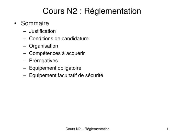 Cours n2 r glementation