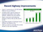 recent highway improvements