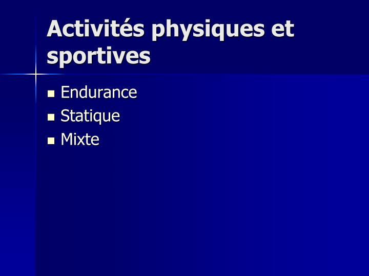 Activit s physiques et sportives