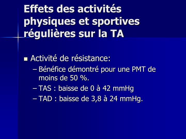 Effets des activités physiques et sportives régulières sur la TA
