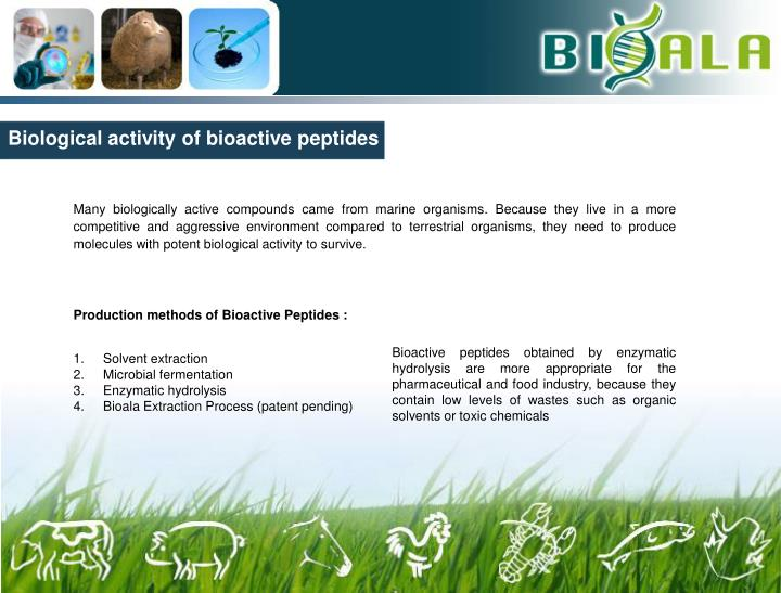 Biological activity of bioactive peptides