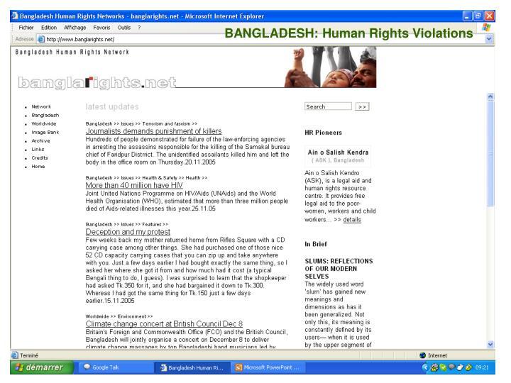 BANGLADESH: Human Rights Violations