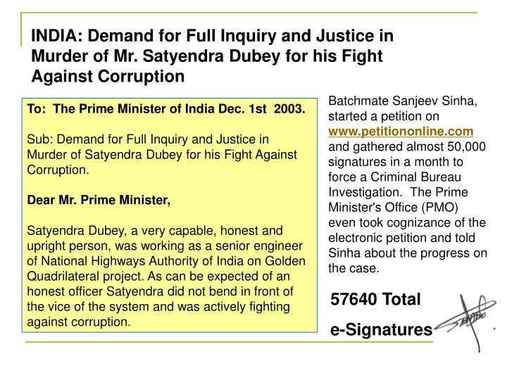 INDIA: Demand for Full Inquiry and Justice in Murder of Mr. Satyendra Dubey for his Fight Against Corruption