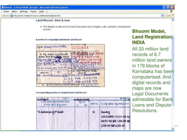 Bhoomi Model, Land Registration, INDIA